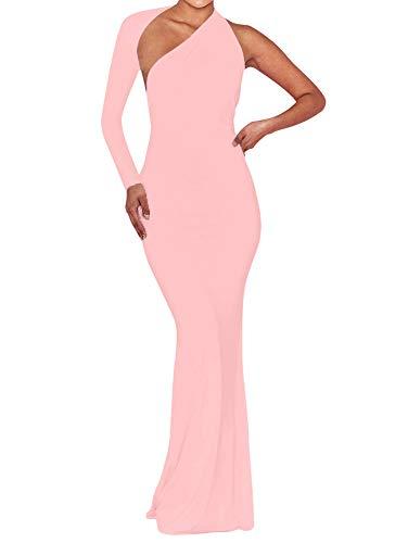 BEAGIMEG Women's Sexy Elegant One Shoulder Backless Evening Long Dress Pink - Halter Stretch Evening Gown