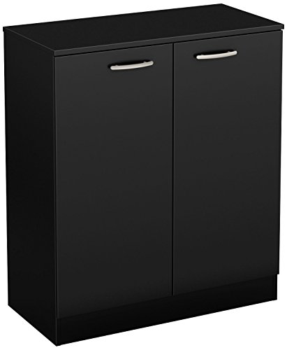 (South Shore Axess Small 2-Door Storage Cabinet, Pure Black)