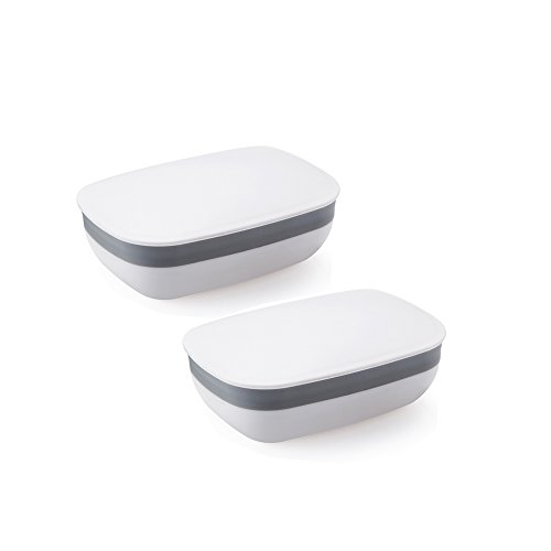 Soap Box Soap Holder Soap Rack, 2 Pack White Eunion Soap Case for Home Outdoor Hiking Camping Gym (Soap Case)