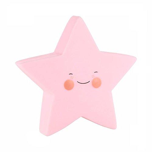 TiooDre Estrellas sonrisa linda de la cara suave vinilo noche de la noche LED de juguete para ni?os Sala de Decoraci¨n infantil rosa de la l¨Âmpara