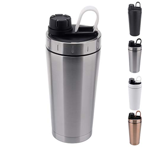 - Stainless Steel Protein Shaker Bottle Insulated Keeps Hot/Cold Dishwasher Safe/Double Wall/Odor Resistant/Sweatproof/Leakproof/BPA Free 20 oz (Silver)