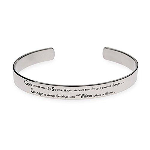 - Eve's Addiction Mens Stainless Steel Serenity Prayer Cuff Bracelet