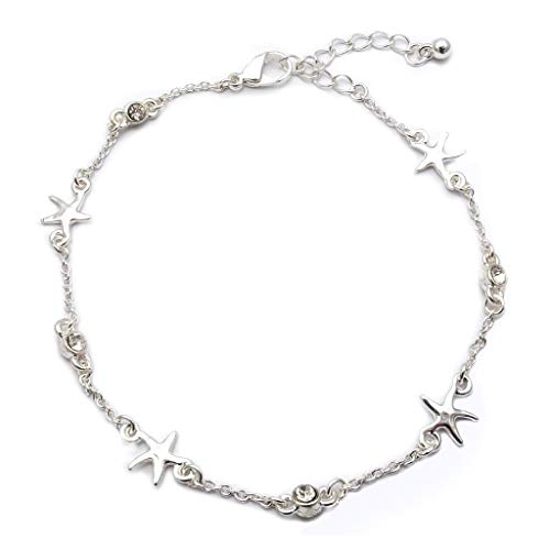 (Jucicle Starfish Charm Crystal Rhinestone Link Anklet (Silver Tone))