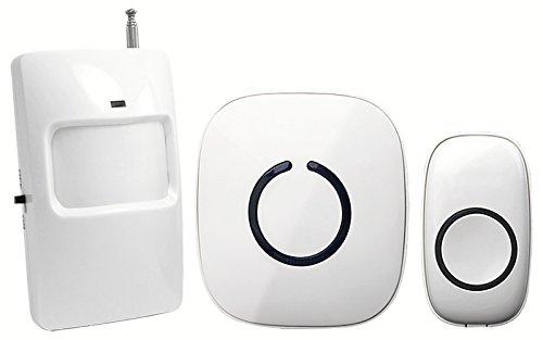 SadoTech Wireless Passive Infrared Motion Sensor Doorbell with Remote Transmitter Button, Long Reset Delay (30 sec), 25-feet Sensor Range with 50+ Chimes](Sadotech Wireless Pir Motion)