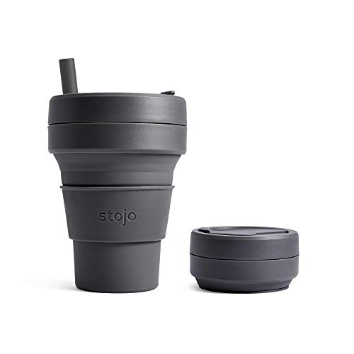 Stojo Collapsible Coffee Cup | Reusable To Go Pocket Size Travel Cup With Straw - Carbon Gray, 16oz