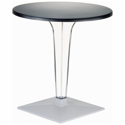 Ice Werzalit Top Round Dining Table with Transparent Base 28 inch Black