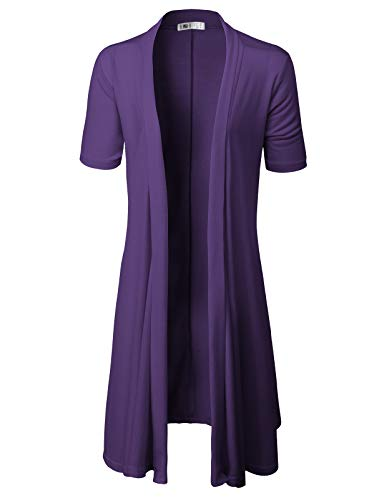 Sleeve Short Cardigan Ruffle (H2H Womens Open Front Draped Basic Designed Cardigan with Various Styles Purple US 2XL/Asia 2XL (CWOCAS07))