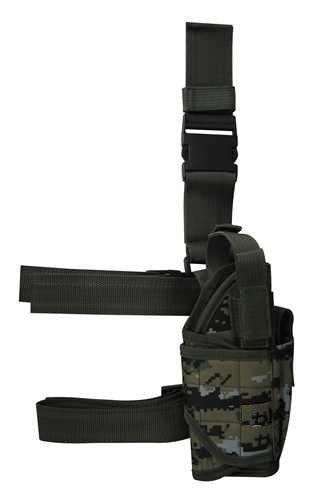 (Ultimate Arms Gear Tactical Woodland Digital Camo Camouflage Adjustable Tornado Drop Leg Glock 37 38 21 25 31 32 Pistol/Gun w/ Light Or Laser Holster + Magazine Pouch)