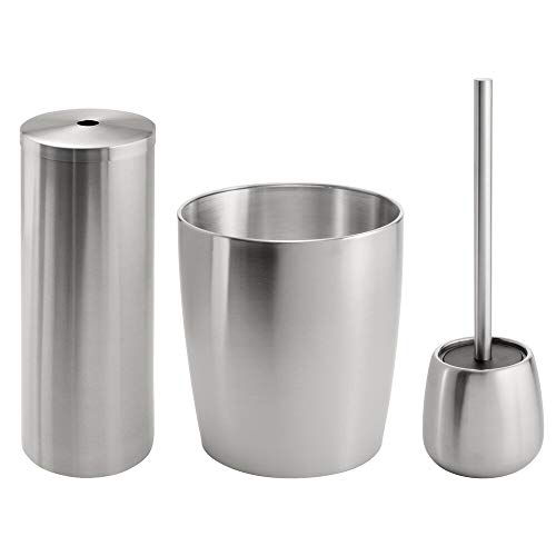 mDesign Bathroom Toilet Bowl Brush, Toilet Paper Roll Holder, and Wastebasket Trash Can - Pack of 3, Brushed Stainless Steel