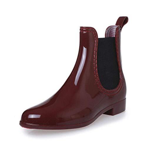 SYLPHID Womens Rain Boots Ladies Elastic Chelsea Rain Booties Shiny Waterproof Non Slip Ankle Rain Shoes(Red) ()