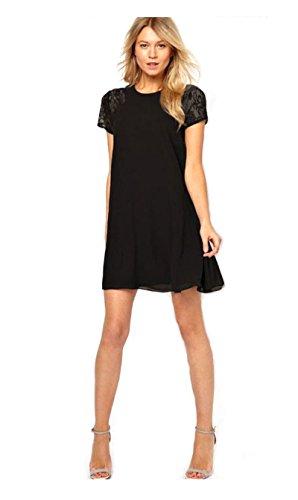 JNTworld Elegant Women Chiffon Lace Short Sleeve Onepiece Shift Dress Sexy Swing , Large, black by jntworld