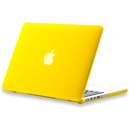 Kuzy - Older Version MacBook Pro 13.3 inch Case (Release 2015-2012) Rubberized Hard Cover for Model A1502 / A1425 with Retina Display Shell Plastic - YELLOW