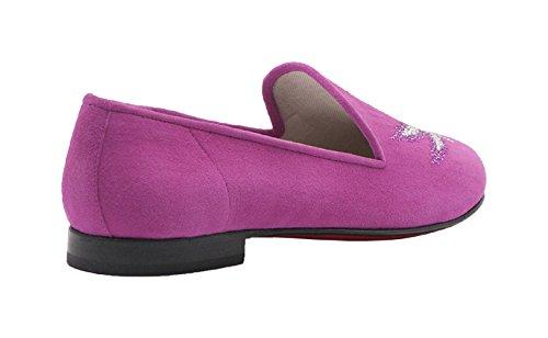 Kardinale Pink Suede Slip On W / Leaf Design Talla 39
