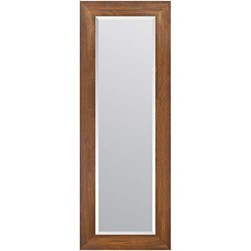 Everly Hart Collection 16x57 Walnut Woodgrain Framed Beveled Wall Mounted or Leaner -