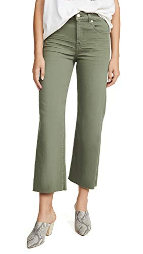 7 For All Mankind Women's Cropped Alexa Jeans with Cutoff Hem, Fatigue, Green, 23 ()