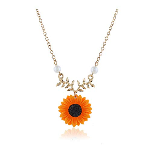 - Women Necklace Pearl Sun Flower Pendant Necklace Cubic Zirconia Choker Necklace For Women Teens Girls,Anniversary Birthday Wedding Gifts For Women Ladies Girlfriend Sister/Yellow Kc Gold