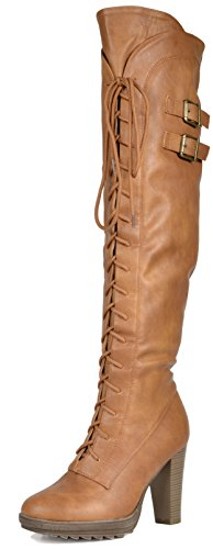 DREAM PAIRS Women's Lacey Over Knee High Heel Lace up Zipper Closure Combat Boots,Camel,7.5 B(M) US ()