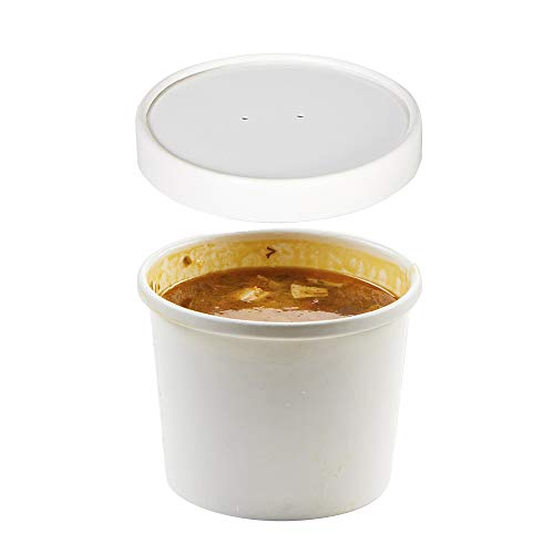 (Set of 100) 8-Ounce Poly-Coated White Paper Soup Containers with Vented Lids Combo, Hot/Cold Food Cups - Ice Cream/Frozen Yogurt, Paper Soup Cups to-Go/Take-Out Food Containers by Tezzorio