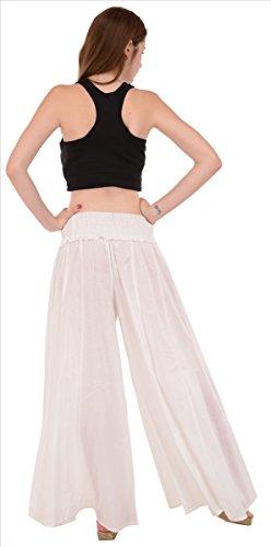 SNS 3x Plus tamaño plazzos pantalones para mujer Pure algodón blanco