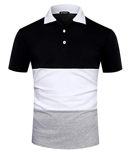 Musen Men Short Sleeve Polo Shirts Casual Cotton Modern Fit Color Block Rugby Polo Tshirts Black-White-Grey -