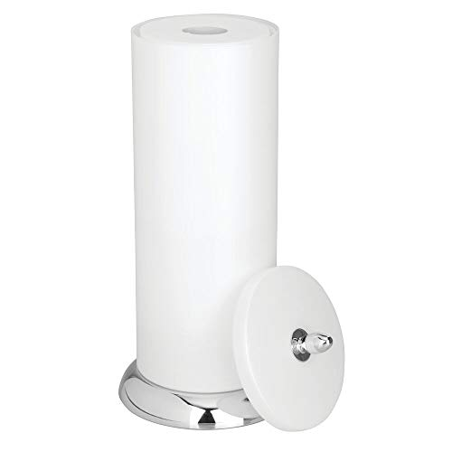 mDesign Plastic Free Standing Toilet Paper Holder Canister with Storage for 3 Extra Rolls of Toilet Tissue - for Bathroom/Powder Room - Holds Mega Rolls - Pearl