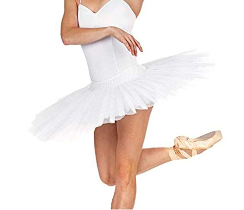 MICHEALWU Adult Ballet Pancake Tutu Skirts Women Professional Ballet Tutu Costume Women Ballet Dance (M, White)]()