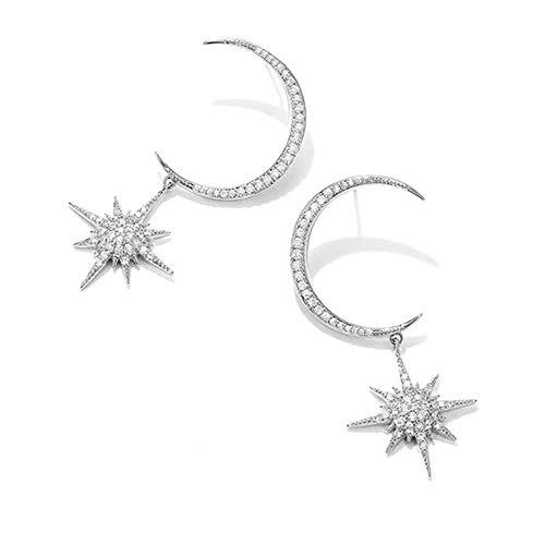- Moon Stud Star Dangle Rhinestone Earrings Women Shinning Fashion Party Wedding Clip on Ear Jacket Jewelry