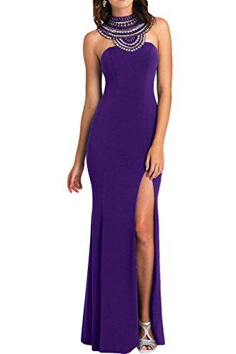 Festkleid Abendkleid Damen Ivydressing Rueckenfrei Strass Hochwertig Schlitz Violett Promkleid Chiffon 0wHvF6q