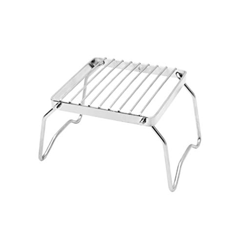 Stainless Steel BBQ Rack, Foldable Portable Barbecue Grill Burner Stand Stove Support for Picnic Hiking Travel