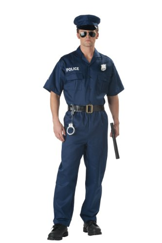 Man Police Officer Costume Small(38-40 Jacket Size , Navy) -