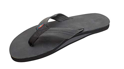 Rainbow Sandals Men's Single Layer Classic Leather w/Arch Support Black, Men's Small / 7.5-8.5 D(M) US