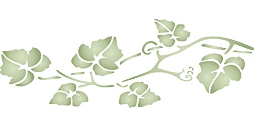 """Vine Stencil - (size 13""""w x 4.5""""h) Reusable Wall Stencils for Painting - Best Quality Wall Border Leaf Stencil Ideas - Use on Walls, Floors, Fabrics, Glass, Wood, Terracotta, and More… (Leaf Vine Star)"""