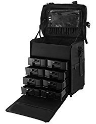 OrangeA 2 in 1 Makeup Case Black Nylon Makeup Case Professional Makeup Artist Rolling Trolley with Multiple Compartments and Lift Handle for Travel Cases (2 in 1 makeup case) by OrangeA