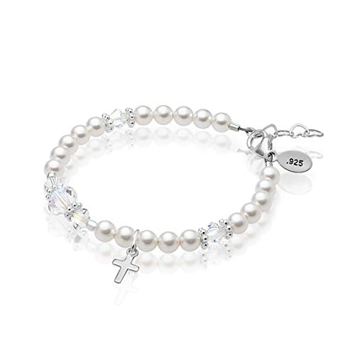 925 Sterling Silver Cross Baby Girl Bracelet Embellished with 4mm Simulated Pearls and 4,6mm Clear Crystals from Swarovski, Best Gift - Small 1-4 ()