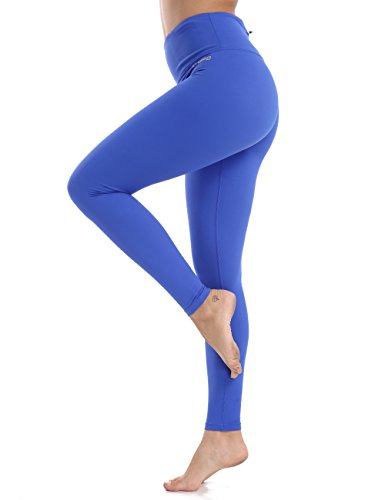 XTUPO Women's Yoga Pants High Waist Tummy Control Workout Legging 4 Way Stretch Tights,Quick Dry Exercise Running Sports Gym Athletic Fitness Training Active Pilates Long with Pockets Blue S -