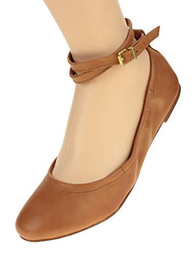1.State Women's Shay Ballet Leather Flat, Tan 6.5 B(M) US