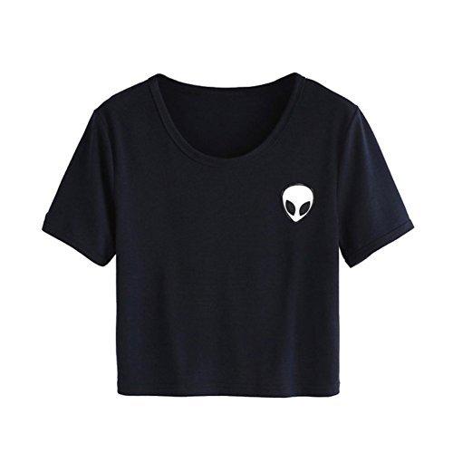 UR Ladies Teen Girls Short Sleeve Funny Cute Alien Crop Top T-shirt, Navy, Medium