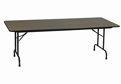 Rectangular Walnut Folding Table - Correll CF2496M-01 Melamine Fixed Height Top Folding Table, Rectangular, 24
