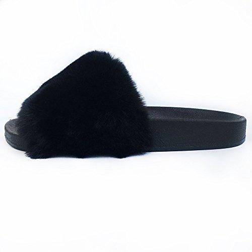 Open Sandal Fashion Mtzyoa Black Flat Women Soft Toe Beach Casual Slippers Slides Fur BU1wgSqp