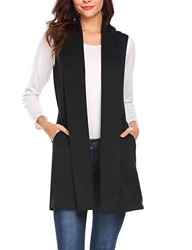 Beyove Women's Sleeveless Draped Open Front Cardigan Vest Black S