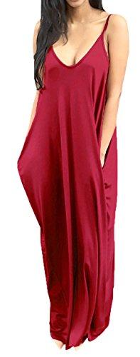 Bigyonger Women 's Loose Low V Neckline Spaghetti Straps Maxi Dress Beach Wear,Red,Large