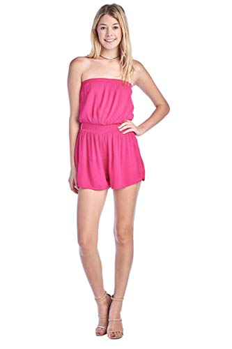 Women's Strapless Casual Smocked Ruched Stretch Tube Off Shoulder Elastic Waist Band Shorts Romper (Small, Rose Fuchsia)