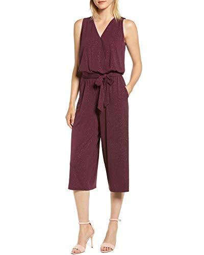 MICHAEL Michael Kors Womens Faux Wrap Glitter Jumpsuit Purple M