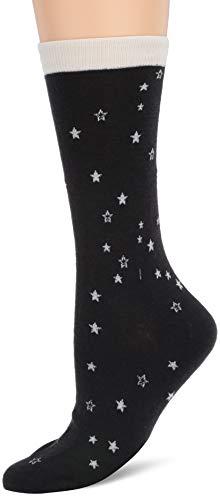 UGG Women's W Merino Wool Star Crew Sock, black/white, O/S (Ugg Merino)