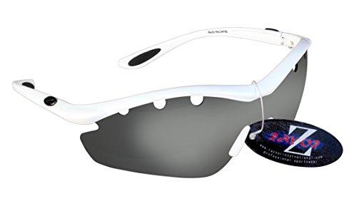 RayZor Lunettes Lunettes de soleil pour Sport Course à Pied, avec un système anti-goutte 1pièce fumé Effet miroir anti-reflet Objectif