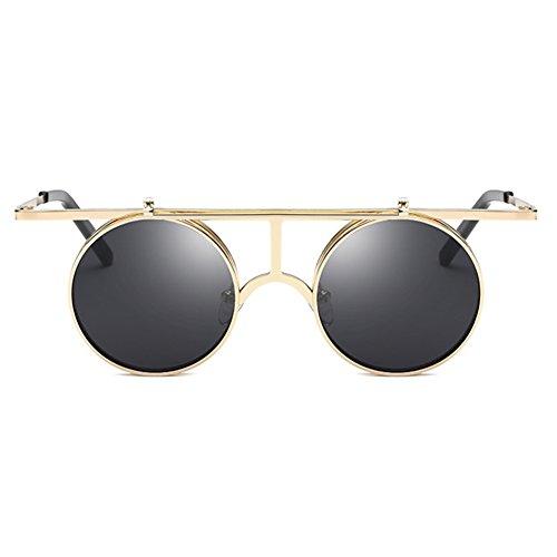 Vintage Polarisées Steampunk Polarized lunettes de soleil femmes hommes  hibote gothique ronde Flip Up Lens C3 ... 2741bdc1269f