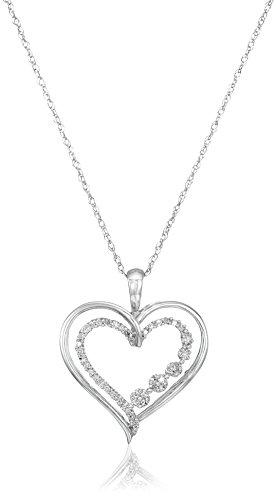 10K White Gold Diamond Heart Journey Pendant Necklace (1/10 cttw), 18