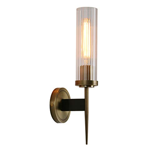 Cylindrical Shade - Permo Vintage Bronze Antique Single Wall Sconce Lighting Fixture with 2.8
