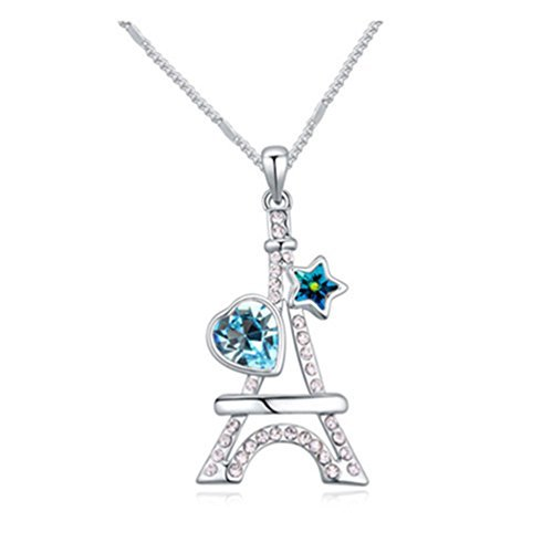 Gift for Girls White Gold Plated Eiffel Tower Heart Star Cut AAA Swarovski Elements Sea Blue Austrian Crystal Pendant Necklace