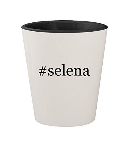 #selena - Ceramic Hashtag White Outer & Black Inner 1.5oz Shot Glass